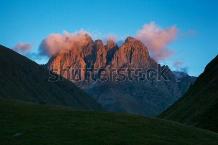 горные пейзаж драматический небе деревне ногу Сток-фото © Leonidtit