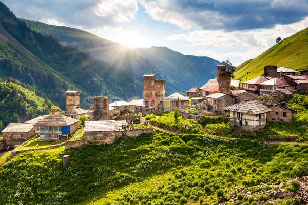 Köy görmek Georgia Avrupa kafkaslar dağlar Stok fotoğraf © Leonidtit