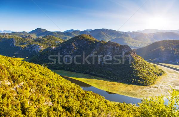 Folyó folyik hegyek tó Montenegró Európa Stock fotó © Leonidtit