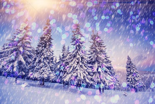 Tél fagyos napos idő hegyek karácsony absztrakt Stock fotó © Leonidtit