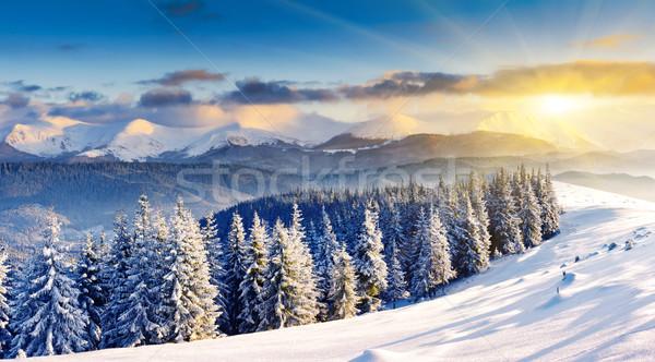 Inverno pôr do sol montanhas paisagem dramático Foto stock © Leonidtit