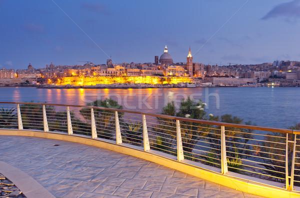 Malta Nacht Ansicht Dame Stadt Sonnenuntergang Stock foto © Leonidtit