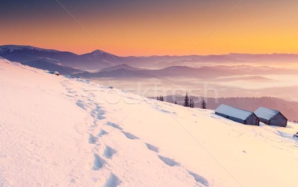 Naplemente fantasztikus reggel hegy tájkép színes Stock fotó © Leonidtit