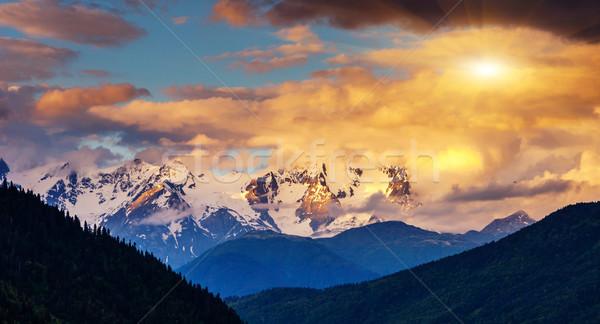 закат красочный гор пейзаж Грузия Сток-фото © Leonidtit