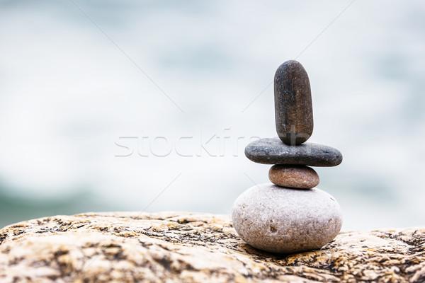 Pietra pietre equilibrio ciottoli blu Foto d'archivio © Leonidtit