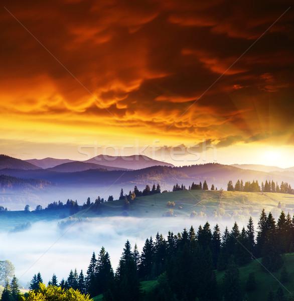 гор пейзаж закат небе Storm Сток-фото © Leonidtit