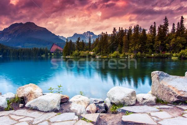 Tó hegy park magas drámai égbolt Stock fotó © Leonidtit