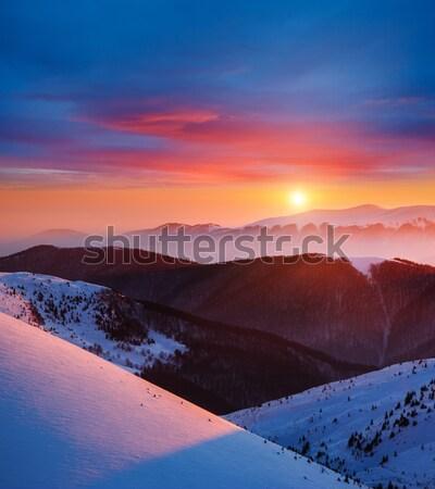 山 日落 山 景觀 戲劇性 商業照片 © Leonidtit