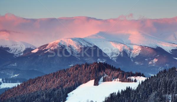 зима закат гор пейзаж hdr Сток-фото © Leonidtit