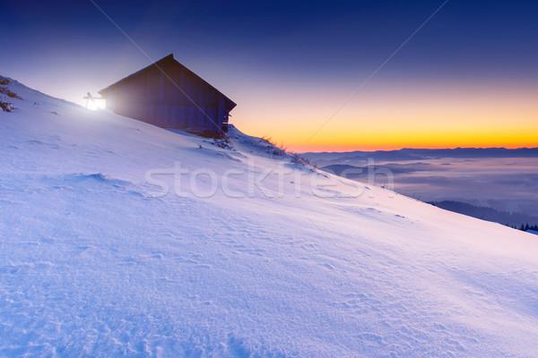 Gün batımı fantastik sabah dağ manzara renkli Stok fotoğraf © Leonidtit