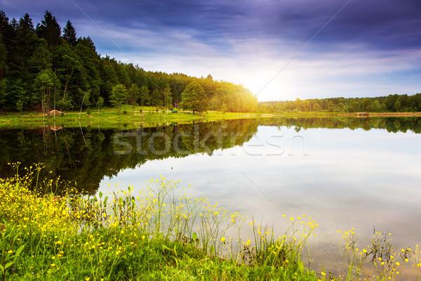 Lac fantastique paysage dramatique ciel Ukraine Photo stock © Leonidtit