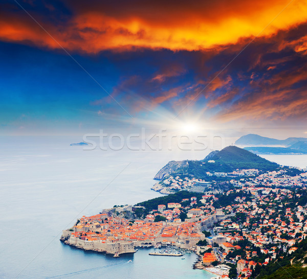 Kroatien farbenreich Sonnenuntergang Altstadt Dubrovnik Stock foto © Leonidtit