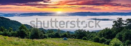 Naplemente fenséges hegyek tájkép égbolt Ukrajna Stock fotó © Leonidtit