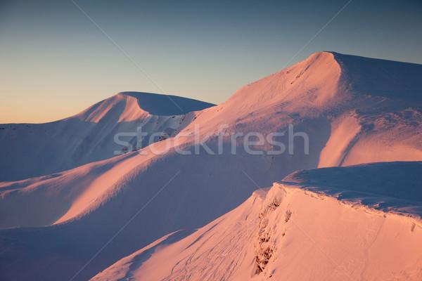 Tél fenséges naplemente hegyek tájkép hdr Stock fotó © Leonidtit