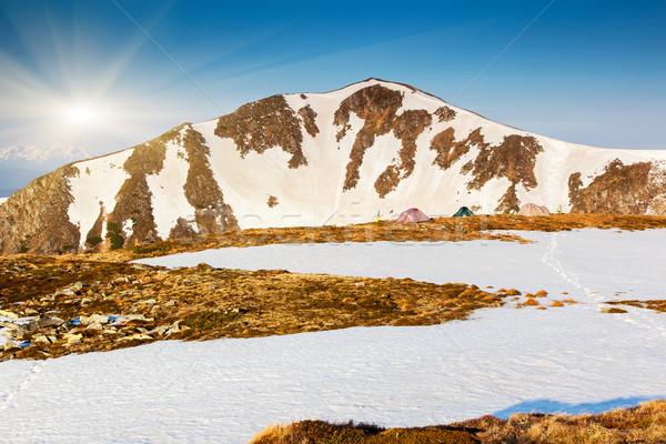 Dağ manzara kamp çadır yüksek çevre Stok fotoğraf © Leonidtit