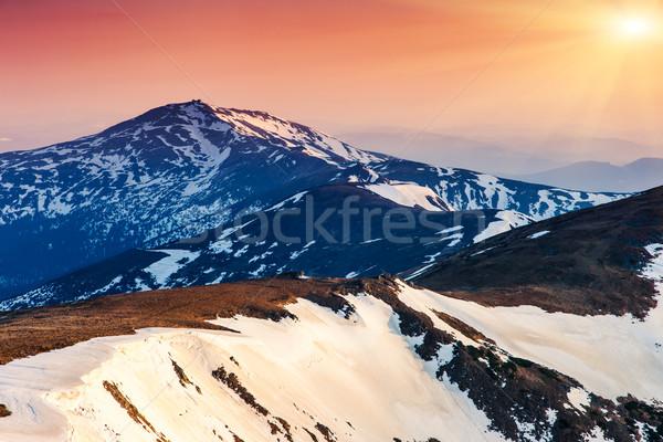 Montana puesta de sol montanas paisaje madera Foto stock © Leonidtit
