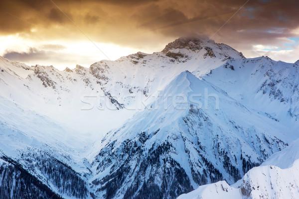горные пейзаж фантастический вечер зима красочный Сток-фото © Leonidtit