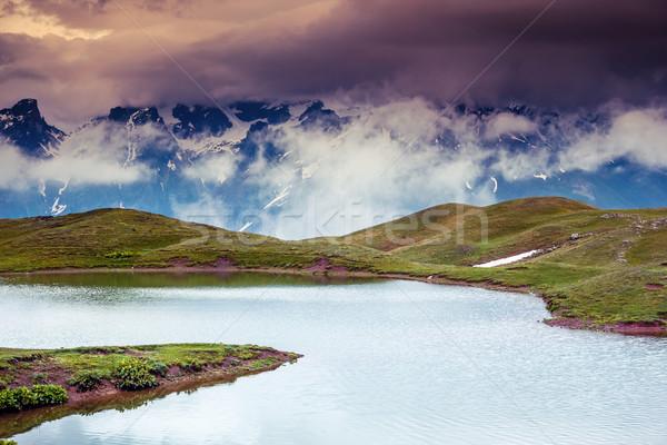 Lac fantastique paysage ciel pied Géorgie Photo stock © Leonidtit