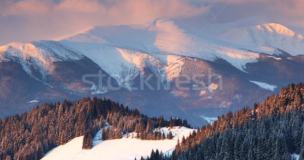 Inverno pôr do sol montanhas paisagem hdr Foto stock © Leonidtit