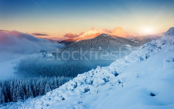 Hegy tájkép fantasztikus este tél színes Stock fotó © Leonidtit
