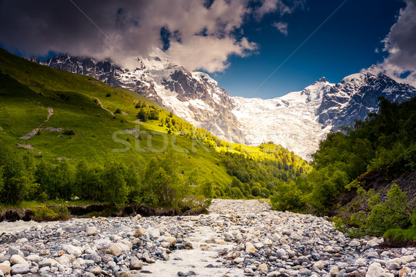 Rivier berg vallei voet gletsjer Georgië Stockfoto © Leonidtit