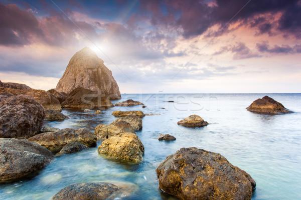 Mer majestueux été coucher du soleil dramatique ciel Photo stock © Leonidtit