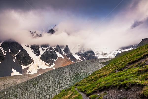 Hegy tájkép alpesi mezők drámai égbolt Stock fotó © Leonidtit