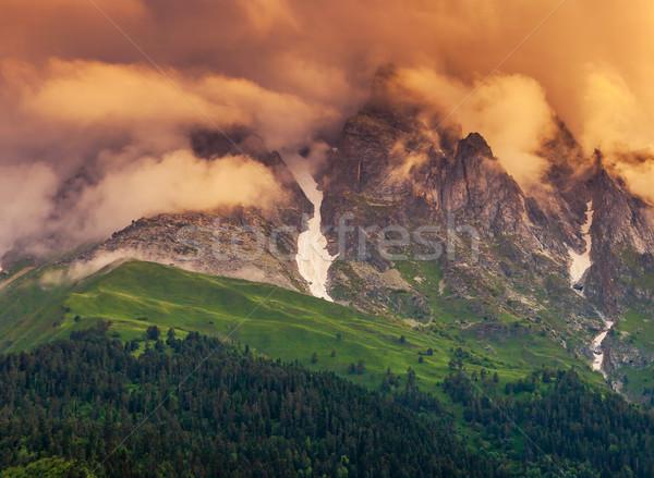 Coucher du soleil majestueux coloré pied Géorgie Europe Photo stock © Leonidtit