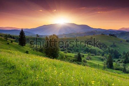 Naplemente fenséges hegyek tájkép égbolt nyár Stock fotó © Leonidtit