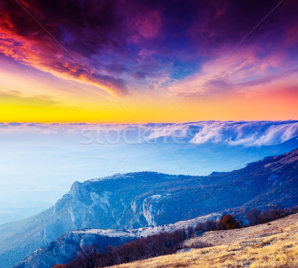 Zonsondergang majestueus ochtend berg landschap dramatisch Stockfoto © Leonidtit