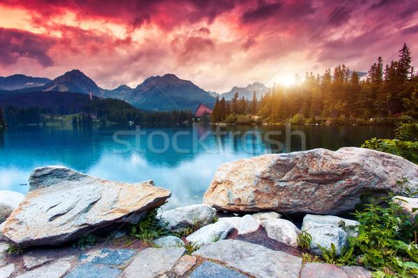 Göl dağ park yüksek dramatik gökyüzü Stok fotoğraf © Leonidtit