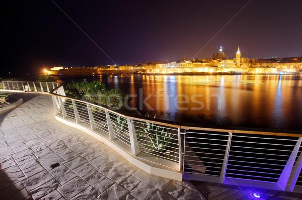 Malta gece görmek bayan şehir manzara Stok fotoğraf © Leonidtit