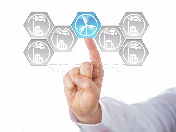 Blue Wind Power Icon Selected Among Grey Factories Stock photo © leowolfert