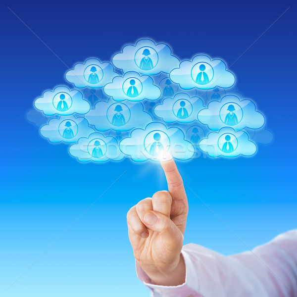 Finger Contacting Workforce Via Cloud Stock photo © leowolfert