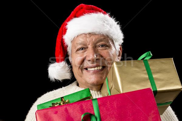 Vrolijk oude man cap drie kerstmis Stockfoto © leowolfert