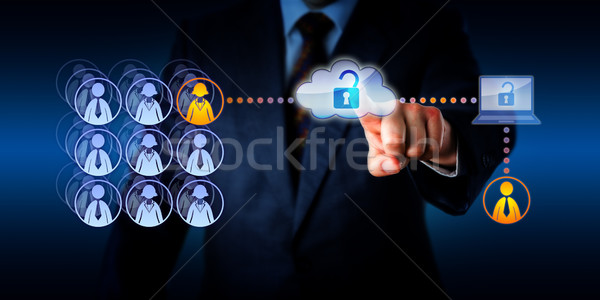Manager Unlocking Cloud Access To A Remote Worker Stock photo © leowolfert