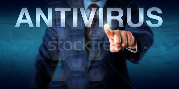 менеджера прикасаться антивирус экране слово технологий Сток-фото © leowolfert