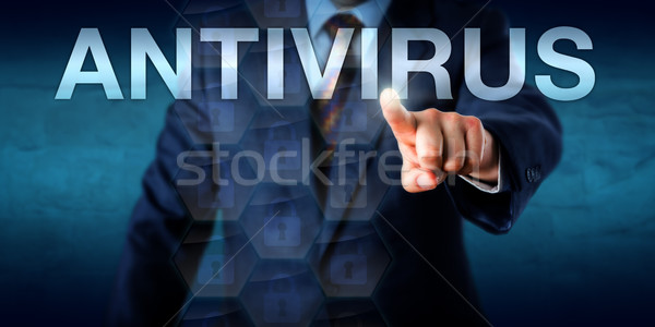 Manager aanraken antivirus scherm woord technologie Stockfoto © leowolfert