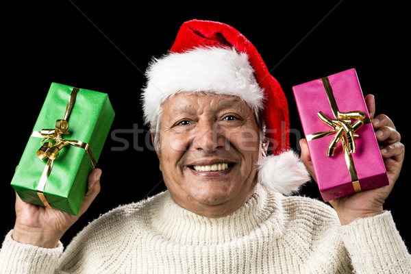 Hilarious Senior Offering Green And Pink Gift Stock photo © leowolfert