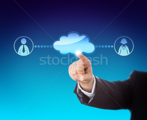 Arm Touching Void Cloud Linked To Office Workers Stock photo © leowolfert