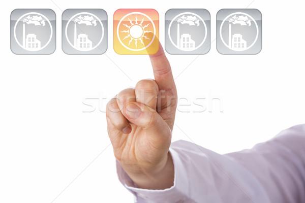 Сток-фото: указательный · палец · желтый · икона · указывая · прозрачный