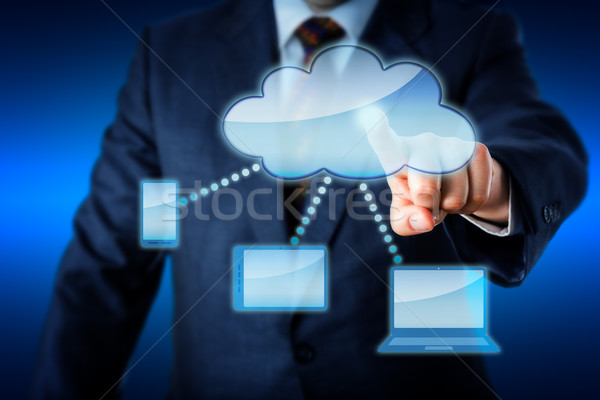 Business Man Touching Smart Computing Network Stock photo © leowolfert