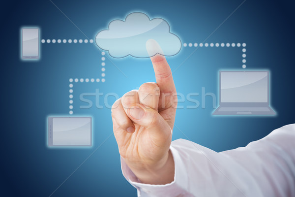 Finger Touching Cloud Linked To Mobile Devices Stock photo © leowolfert