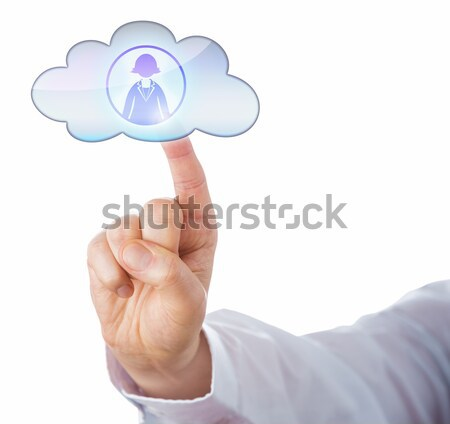 Cutout Of A Male Finger Touching A Void Cloud Icon Stock photo © leowolfert