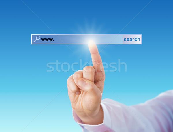 Mutatóujj megérint keresőmotor szerszám fehérgalléros munkás Stock fotó © leowolfert