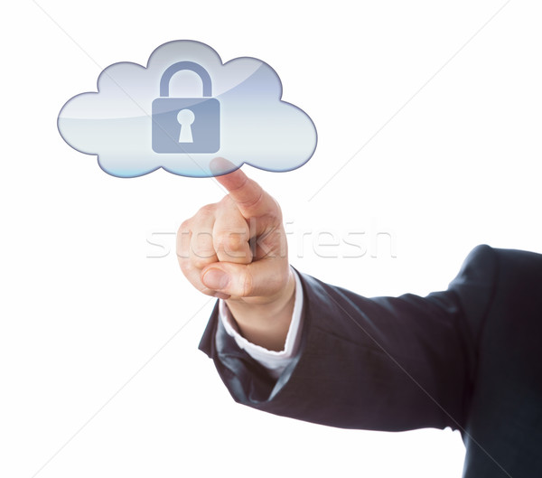 Arm In Suit Pointing At Secured Lock In Cloud Icon Stock photo © leowolfert