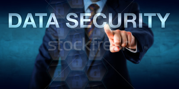 Businessman Touching DATA SECURITY Onscreen Stock photo © leowolfert