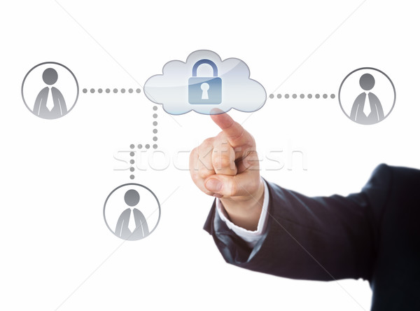 Right Arm Reaching To A Locked Cloud Network Icon Stock photo © leowolfert