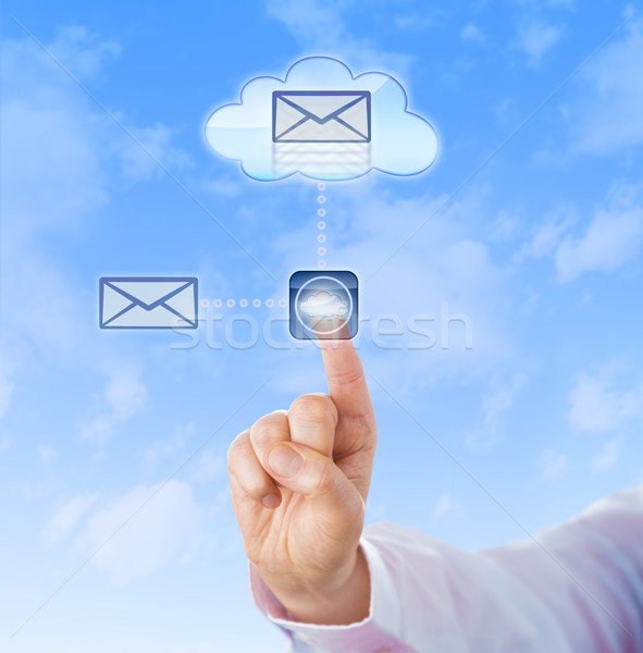 Hand Copying A Document Into The Cloud Stock photo © leowolfert
