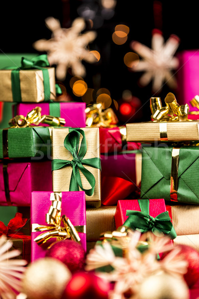 Single-Colored Xmas Gifts Stacked Up Stock photo © leowolfert